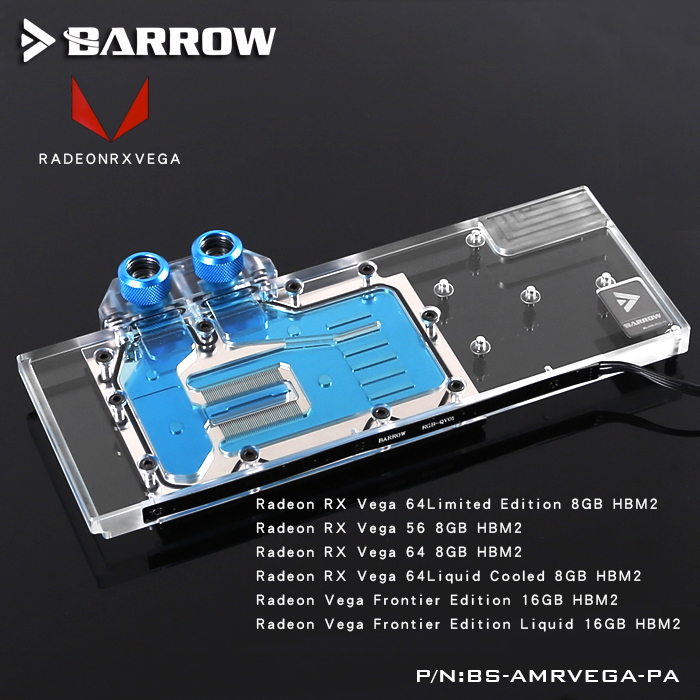 Barrow LRC RGB v1/v2 Full Cover Graphics Card Water Cooling Block BS-AMRVEGA-PA for Radeon RX VEGA Frontier Edition computador cooling fan replacement for msi twin frozr ii r7770 hd 7770 n460 n560 gtx graphics video card fans pld08010s12hh