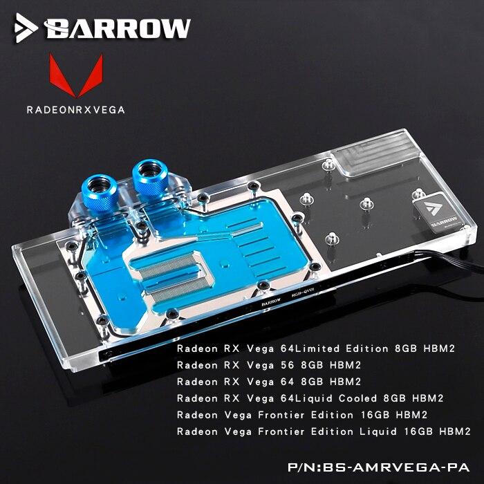 Brouette BS-AMRVEGA-PA LRC RGB v1/v2 Pleine Couverture Carte Graphique Bloc De Refroidissement à Eau pour Radeon RX VEGA Frontière Édition