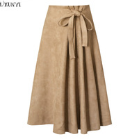 LXUNYI Autumn Winter New A Line Suede Skirts For Women Lace UP Fashion Solid High Waist Female Irregular Skirt Long Skirt Pink