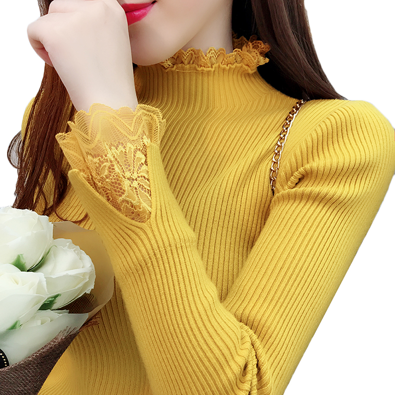 Cheap Price Women Turtleneck Sweater Pullover New Winter Fashion Lace Elegant Ladies Bottoming Shirt Pull Jumper Sweater Women Tops Aa504 Pullovers
