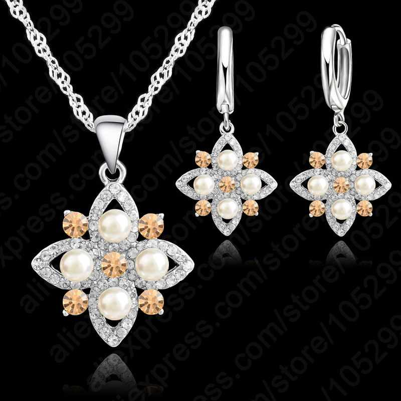 925 Sterling Silver With Pearl Austrian Crystal Necklace Earring Jewelry Set Wedding Engagement Party Jewelry For Bridal