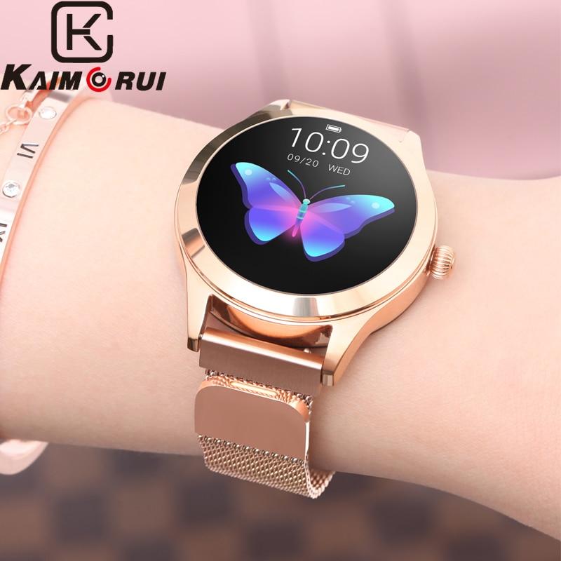 Smart Watch Women KW10 IP68 Waterproof Heart Rate Monitoring Leather Band Pedometer Fitness Bracelet Smartwatch for Xiaomi Phone