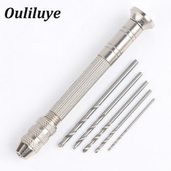 цена на High Quality Mini Micro Aluminum Hand Drill With Keyless Chuck +10pc Twist Drill Bit Woodworking Drilling Jewelry Rotary Tools