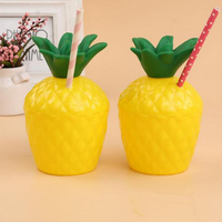 12/Set Hawaiian Tropic Fruit Pineapple Drinking Cup with Straw Luau Beach Birthday Summer Beach Party Luau Party Supplies