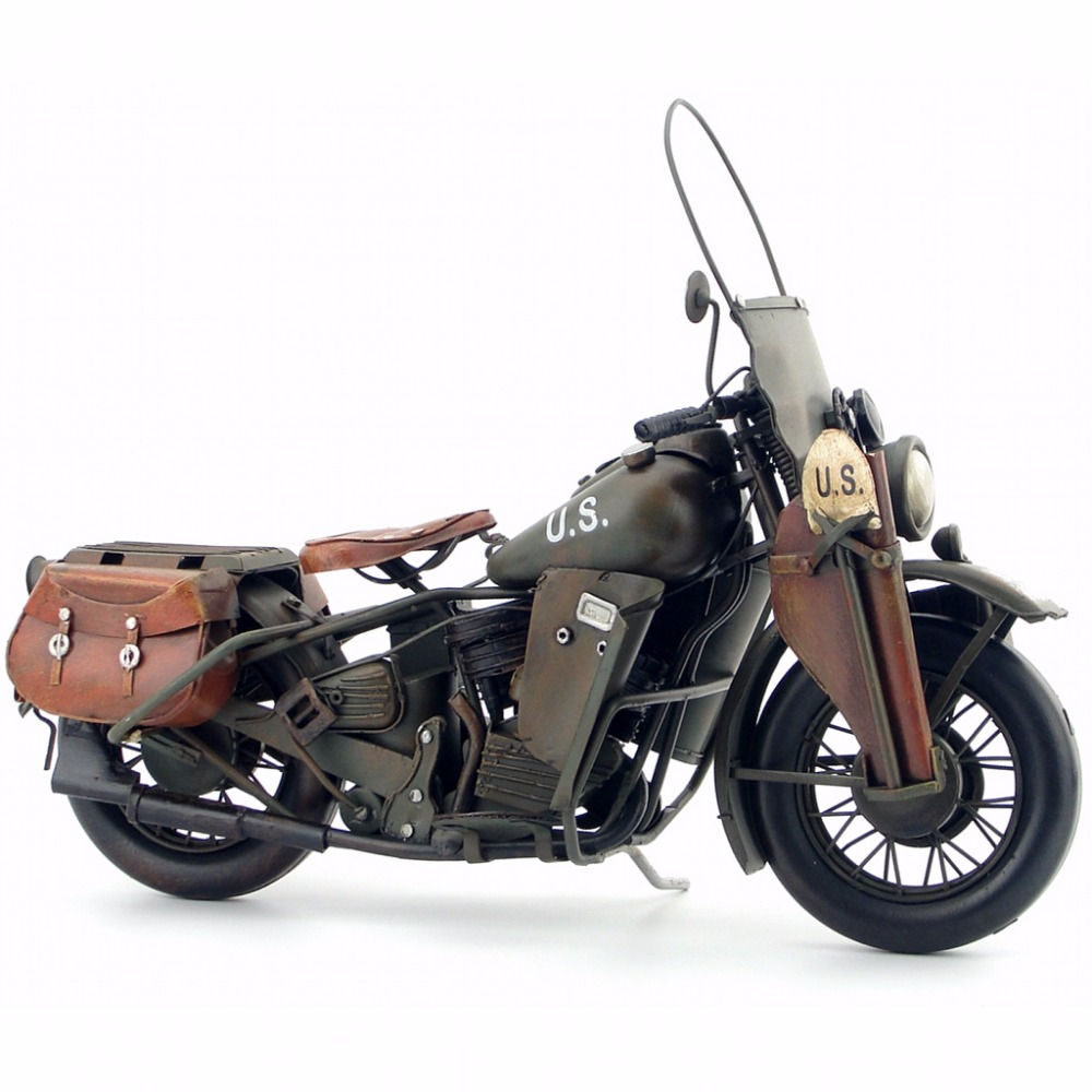 Antique classical military motorcycle model retro vintage wrought metal crafts for home pub cafe decoration or