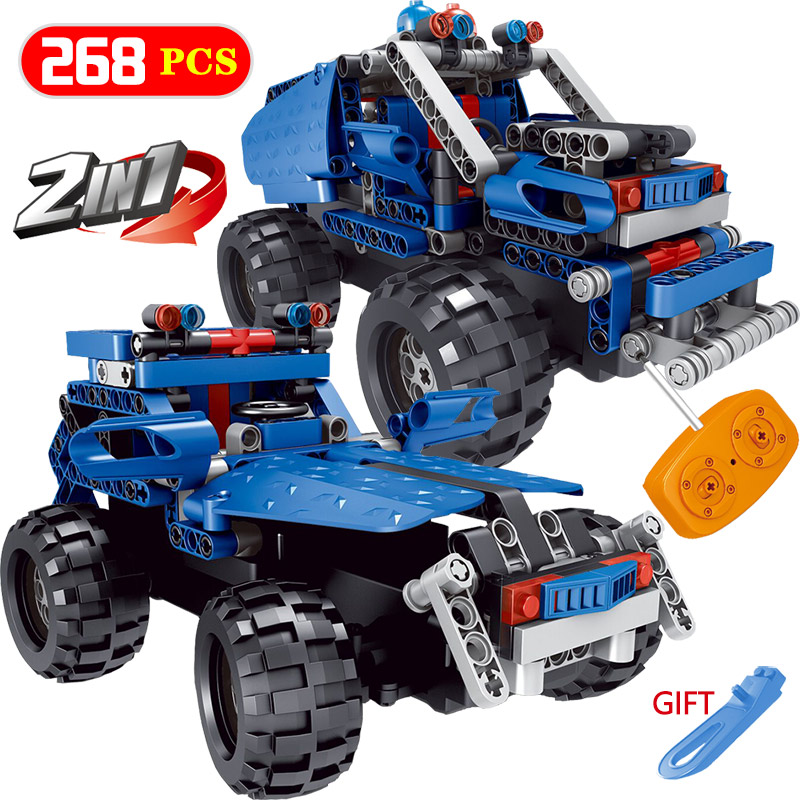 2 IN 1 Building Blocks Car Compatible LegoINGlys Vehicle Truck Blue Offroad SUV Radio Remote Control Blocks Toys For Children 2 in 1 transformable assembly building blocks car for children puzzling toys