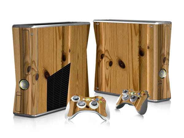 Wooden Style Decal Protector Vinyl Full Set Sticker for Microsoft X box 360 Slim Console & 2 Matching Controller Cover Skins