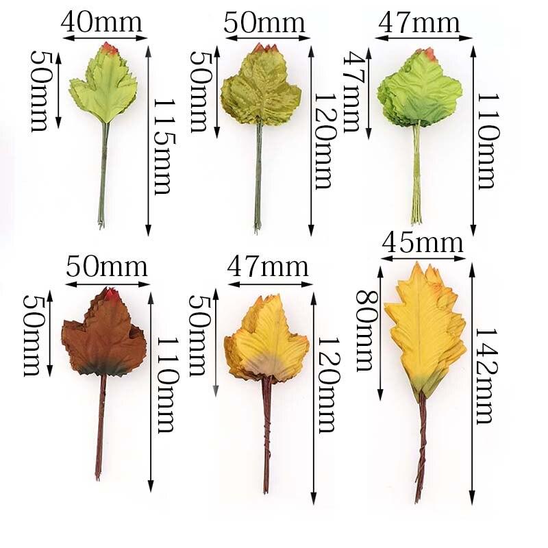 5cmMaple leaf Silk Leaf Shaped Handmade Fleurs Scrapbooking Artificial Flower For DIY Wedding Home Decoration Accessories