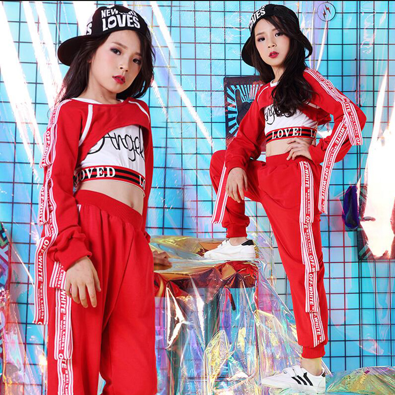 d2040dfc416b 1 SET Kids Sequined Hip Hop Clothing Suits Girls Red Tops Pants Jazz Dance  Costumes Ballroom