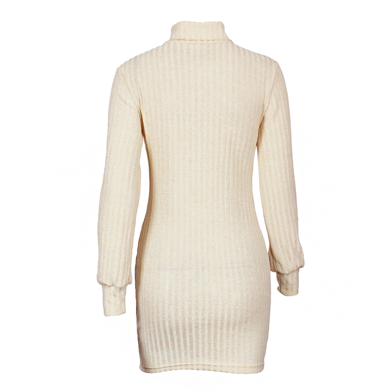 792b376e563 BEFORW Long Sleeve Turtleneck Knitted Dress Women Casual Autumn Winter  Sweater Dress Female Sexy Elegant Pullover ...
