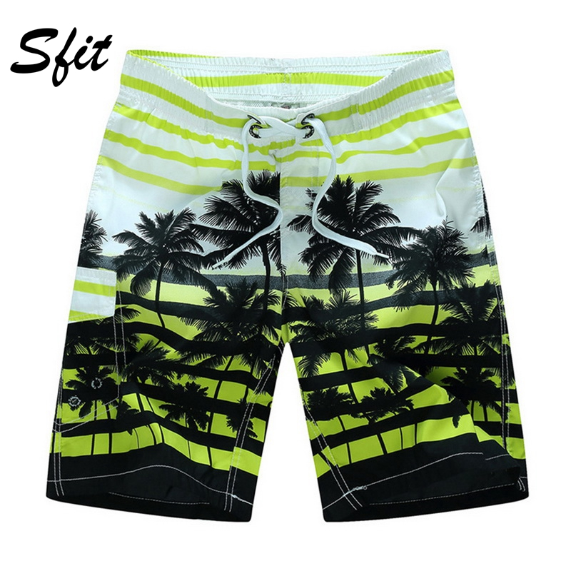 Sfit Men Swimming Shorts Summer Water Sports Beach Shorts Coconut Tree Print Trunk Casual Quick-Dry Board Shorts Swimwear