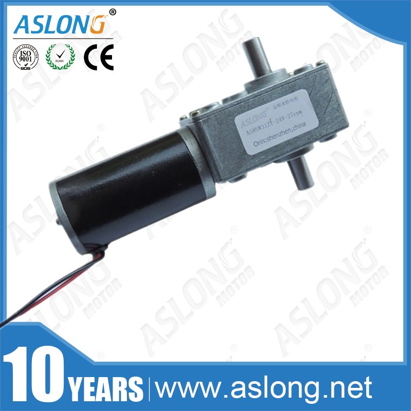 A58SW31ZYS high quality high torque low noise 12v dual shaft self-locking dc worm gear motor for robot ASLONG self dual z4 modules