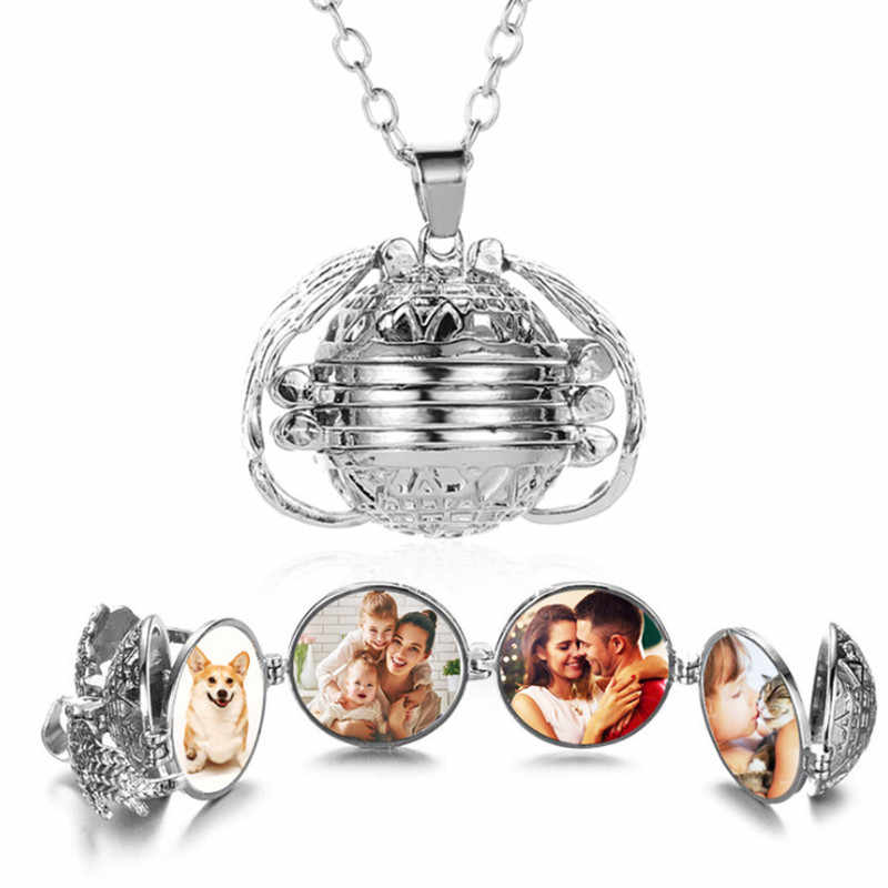 1Pcs Magic Expanding Photos Pendant Memorable Pendant Necklace With A Medallion Angel Wings Necklace With A Pendant Trendy Land