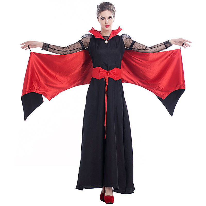 Halloween Vampire Costume reine longue Maxi robe fête sorcière Costumes femmes Roleplay vêtements mascarade fête Cosplay