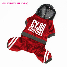 2017 Fashion Velvet Dog Clothes Sping/Autumn Pet Dog Coat Letters Bling Hooded Puppy Dog Jumpsuit for Chihuahua Yorkshire XS-XXL