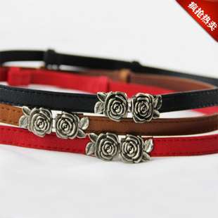 433 Fashion Decoration Strap Female Flower Women's Rose Buckle Popular Thin Belt Female