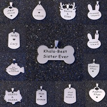 Stainless Steel Dog Tags for Cat Dog Collar Customized Pet ID Tag Personalized Name Tag Water Drop Heart Dog Necklace For Pet 2339 pet id tag capsule pendant for dog cat