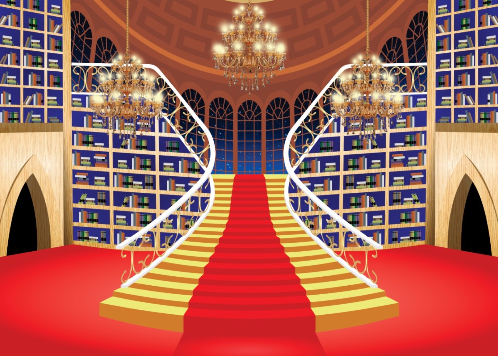 7x5ft Beauty Beast Library Red Carpet Ladder Stairs