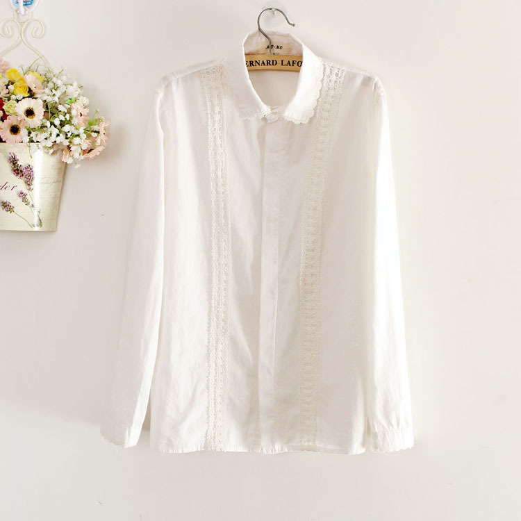 c9172811776bb2 shirt white lace cute top style long sleeves pattern jeans Source · White  Blouse Women Work Wear Cotton Lace Embroidery Turn Down Collar