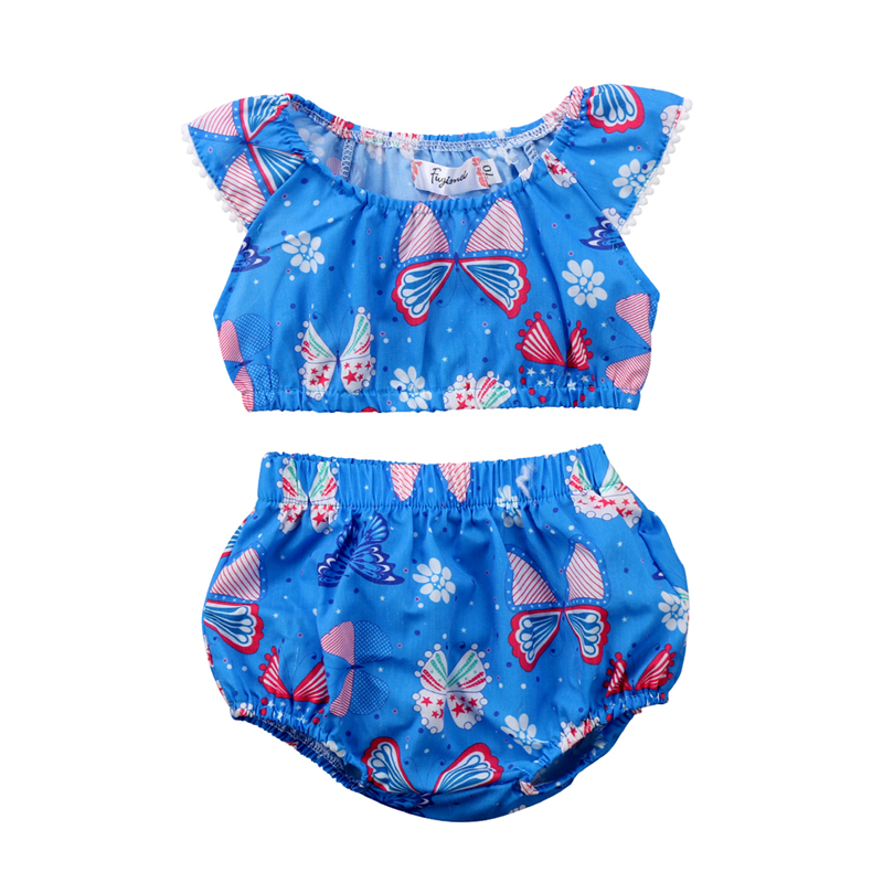 Summer Baby Girls Clothing Set 2018 Fashion Newborn Baby Girl Floral Butterfly Crop Tops+Shorts Pants 2pcs Outfits Girls Clothes