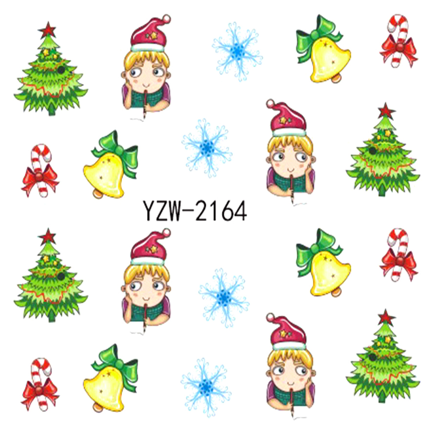 WUF 1 Sheet Watermark Christmas Stickers Nail Art Water Transfer Tips Decals   Beauty Temporary Tattoos Tools  2164