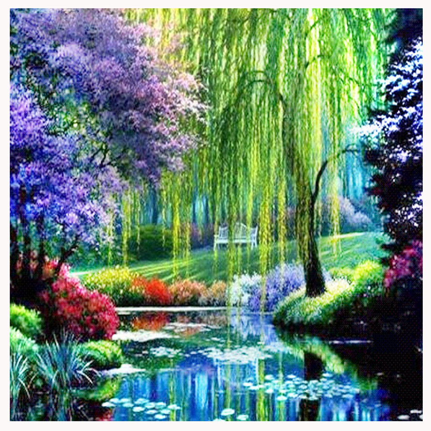 5D DIY Diamond Painting Crystal Needlework Mosaic Square/round Full Pattern Diamond Embroidery Set River & landscape gift AS665