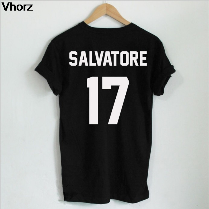 Casual Salvatore 17   T  -  shirt   Year Of Birth Vampire Diaries Mystic Falls Tops Graphic Tee   Shirts   Tumblr Tshirt for Men Women
