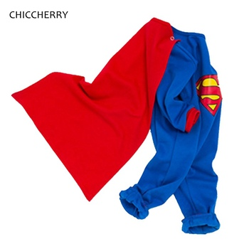 Superman Purim Costume Jumpsuit + Cloak Long Sleeve Baby Boy Clothing Set Roupa De Bebe Toddler Boys Clothes Halloween Outfits
