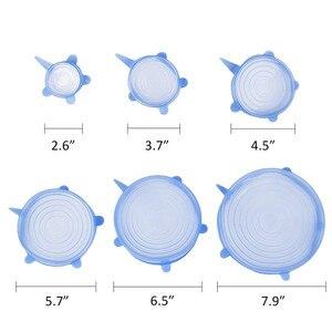 Image 5 - 6 Cái/bộ Nắp Silicon Tràn Núm Bọc Silicone Hút Nắp Bát Chảo Dụng Cụ Nhà Bếp Chảo Silicon Co Giãn Nắp Đậy có