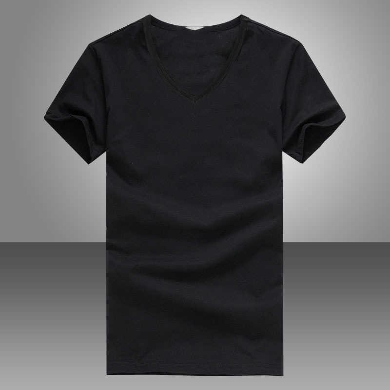 男性の夏の Tシャツソリッドブラックホワイトシンプルなトップス半袖 V ネック韓国スタイルスリムフィットカジュアル Tシャツ男性服 tシャツ