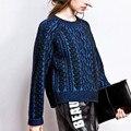 Nuevo Invierno Caliente Suéter Retro Giro de La Cabeza Caliente Y Azul Y Amarillo Mujer Mujeres Suéteres Y Suéteres Tire Femme 2016