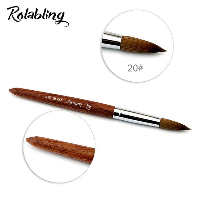 20 Acrylic Nail Art Brush 100 Kolinsky Sable Pen Red Wood Acrylic