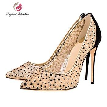 Original Intention Stylish Pumps Women Shoes High Heels Pointed Toe Wedding Shoes Black Pink Blue&Purple Stiletto Pumps Big Size фото