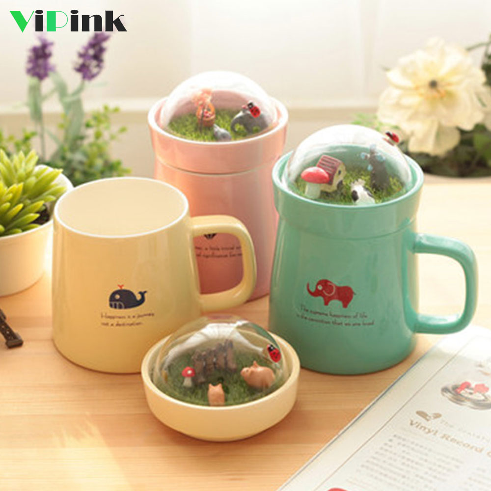 Animal Coffee Cups Us 18 28 36 Off 400ml Creative Ceramic Micro Landscape Garden Mugs With Lid Cute Forest Animal Coffee Cups And Mugs Office Water Mug Gift Box In