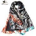 Nuevas mujeres del diseño de rayas de tigre pañuelos de gasa de seda imitado bufandas exterior viajar sol protección chales Ladies Pashmina