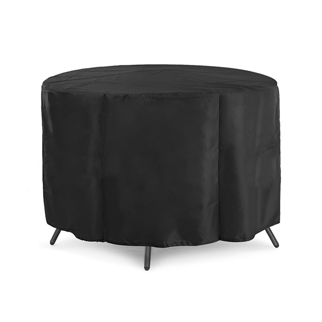 Outdoor Garden Patio Black 210d Oxford Cloth Round Furniture Table Dust Cover Waterproof Protector Bag 128 71cm Fu003