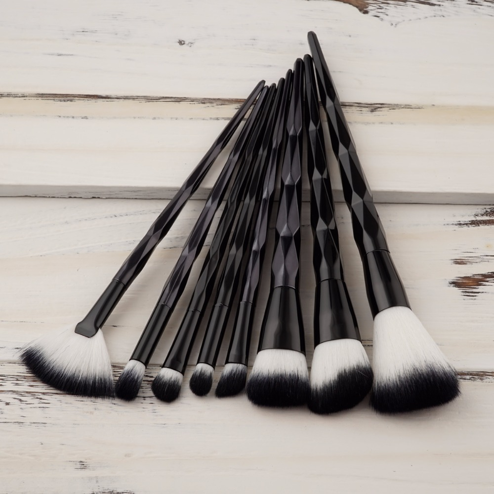 AT FASHION 8pcs Diamond Handle Makeup Brush Set Powder Foundation Blush Eyebrow Eyeshadow Face Brushes Make up Tools Kits pro 15pcs tz makeup brushes set powder foundation blush eyeshadow eyebrow face brush pincel maquiagem cosmetics kits with bag