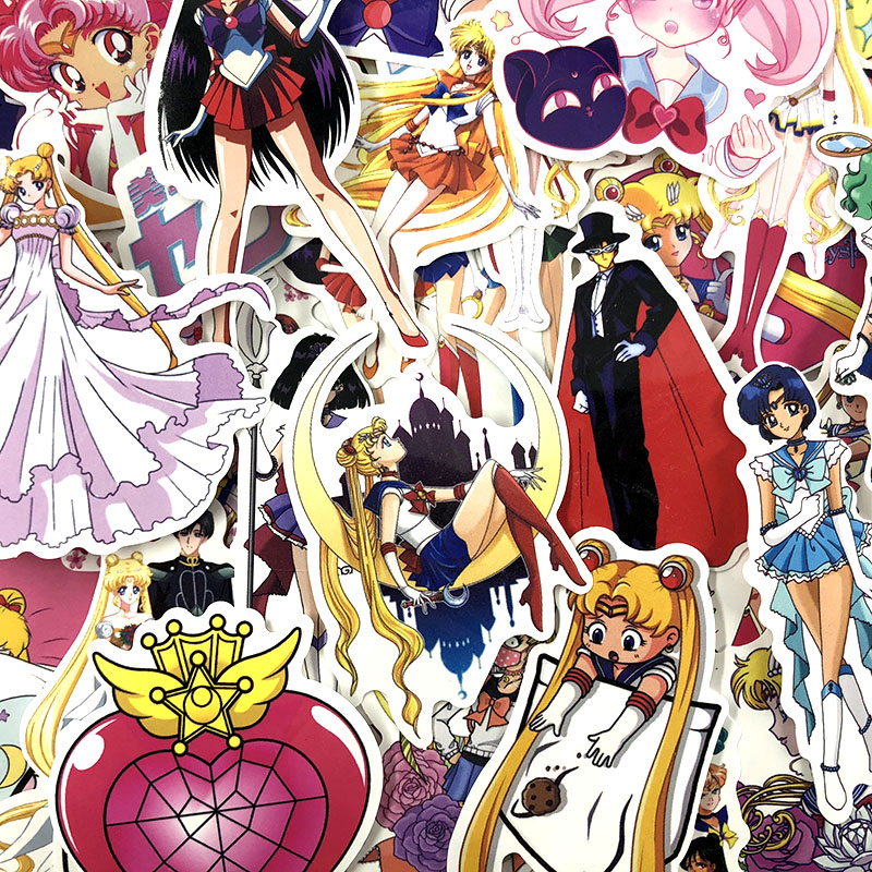Anime Sailor Moon Japanese 50 Stickers Lovely Boy and Girl Sticker Laptop Computer Bedroom Wardrobe Car Skateboard Motorcycle Bicycle Mobile Phone Luggage Guitar DIY Decal