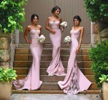 Pink 2017 Mermaid Spaghetti Straps Satin Appliques Lace Long Bridesmaid Dresses Cheap Under 50 Wedding Party Dresses