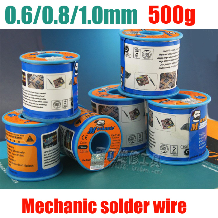 купить 500g 0.6/0.8/1.0MM Diameter Lead 63/37 Tin Rosin Core Flux Solder Wire Reel Welding Soldering Welding repairs essential по цене 4374.58 рублей