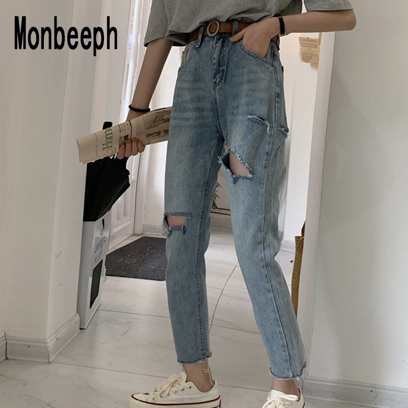 Monbeeph Denim Jeans Spring-Trousers Straight-Leg-Pants Hole Ripped Blue Casual Summer
