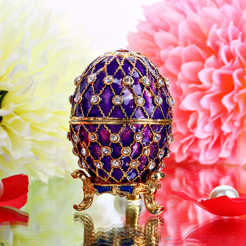 Purple Easter Metal Crafts Gifts Embroidery Russian Egg Jewelry Trinket Box Figurine for Christmas Display Case