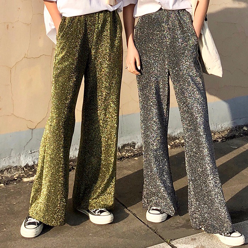2019 Streetwear Shining Women   Pants   Elastic High Waist   Wide     Leg     Pants   Ladies Loose Sequined Trousers Women pantalon femme