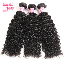 Halo Lady Beauty 3Pcs Lot Peruvian Kinky Curly Human Hair Extensions 8- 26inch Non Remy Hair Weaves Wefts DHL Free Shipping