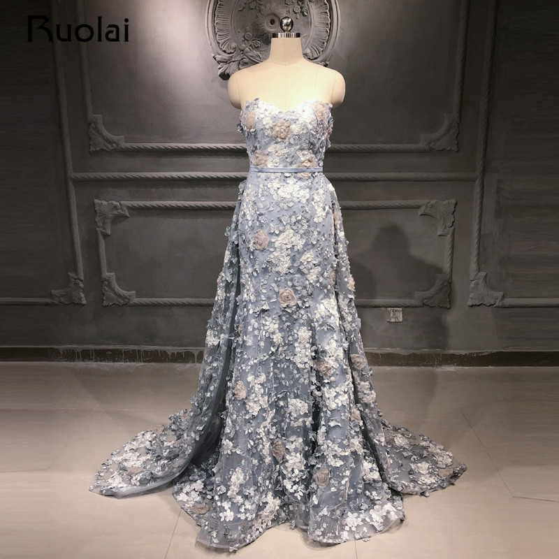 2 colors Mermaid   Evening     Dress   2019 Sweetheart Prom   Dress   2019 Removable Train Formal   Evening     Dresses   3D Flower Applique SN42