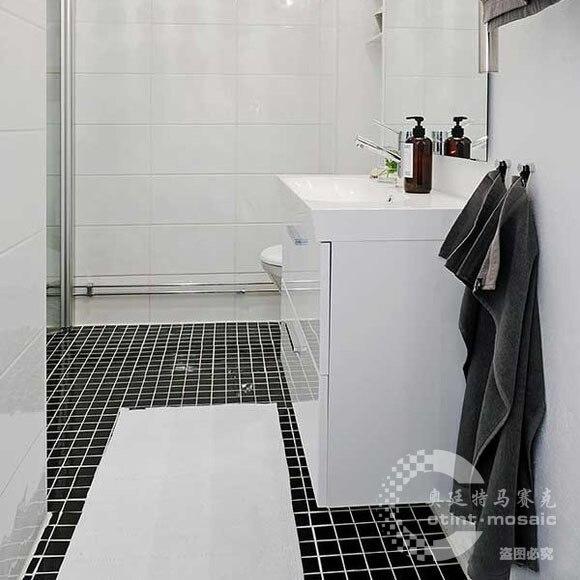 Bright Matt Black Ceramic Mosaic Tile Bathroom Floor Surface
