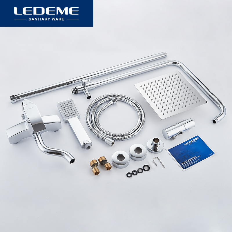 LEDEME Shower set for Bathroom Chrome Plated Outlet Pipe Bath Shower Faucet  Surface Zinc Alloy inside Faucets 3 pcs Head L2443