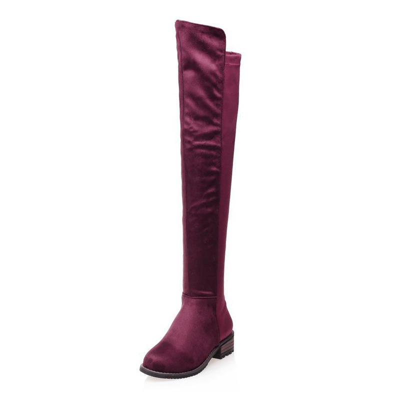 ФОТО Big Size 34-43 Fashion 2017 Thick Heels Over the Knee Boots for Women Concise Female Footwear Nubuck Slip On Fall Winter Boots