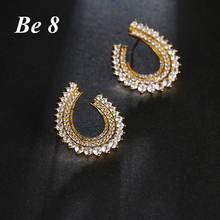 Be8 Brand Top Quality Clear AAA Cubic Zirconia Stud Earrings Women Jewelry Olive Leaf Shape Earring For Birthday Show Gift E-194 be8 brand top quality cubic zirconia pave flower shape fashion jewelry stud earring for women rose gold color elegant gift e 215
