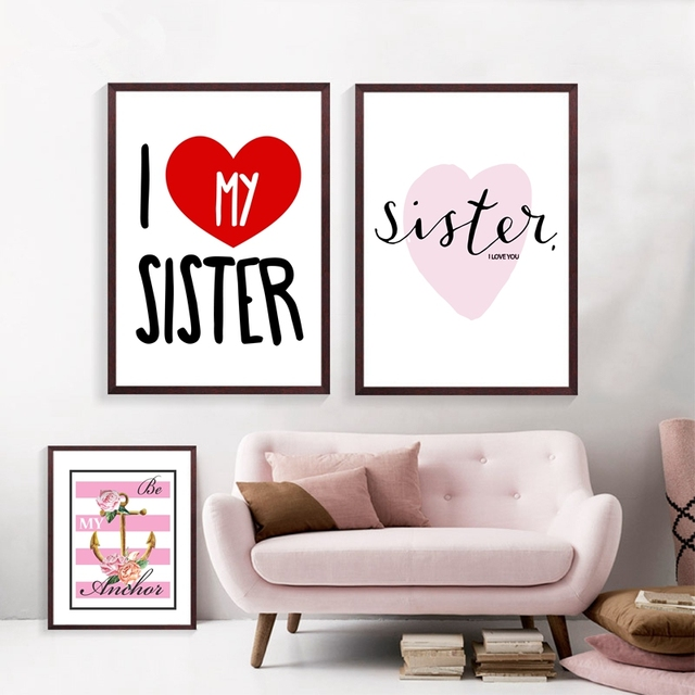 I Love My Sister Quotes Delectable I Love My Sister Quote Canvas Painting Cute Art Print Picture For